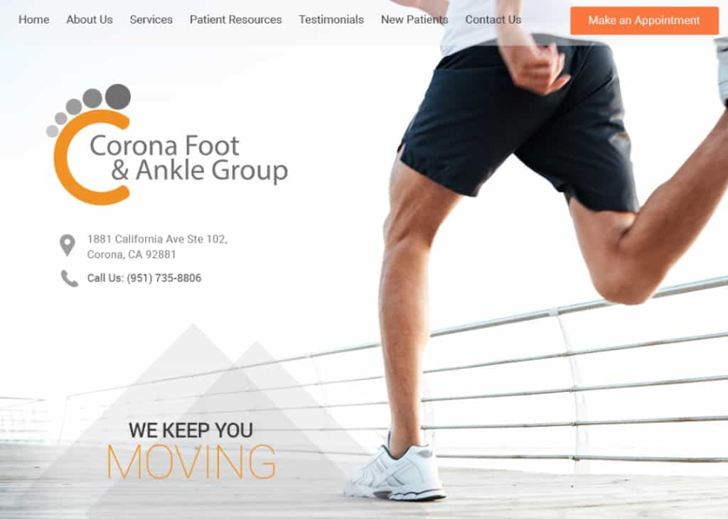 Corona Foot and Ankle Care Website Screenshot
