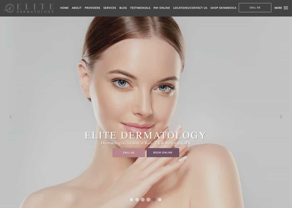 Elite Dermatology Website Screenshot