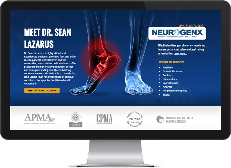 Healthcare Podiatry website screenshot on a big monitor