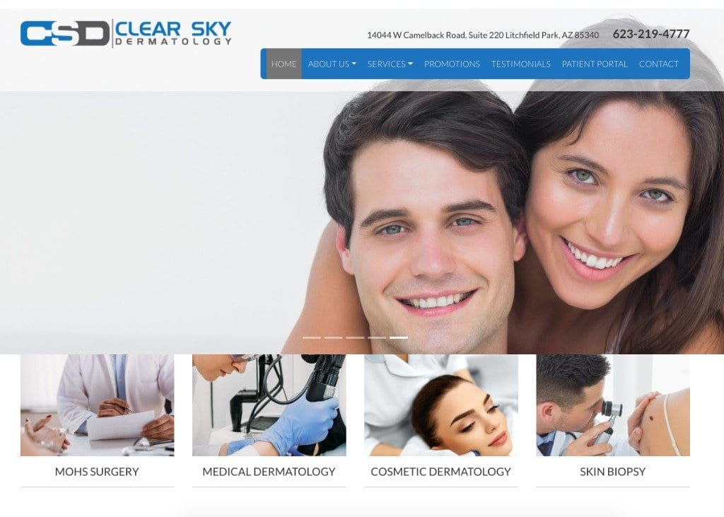 Clear Sky Dermatology Website Screenshot
