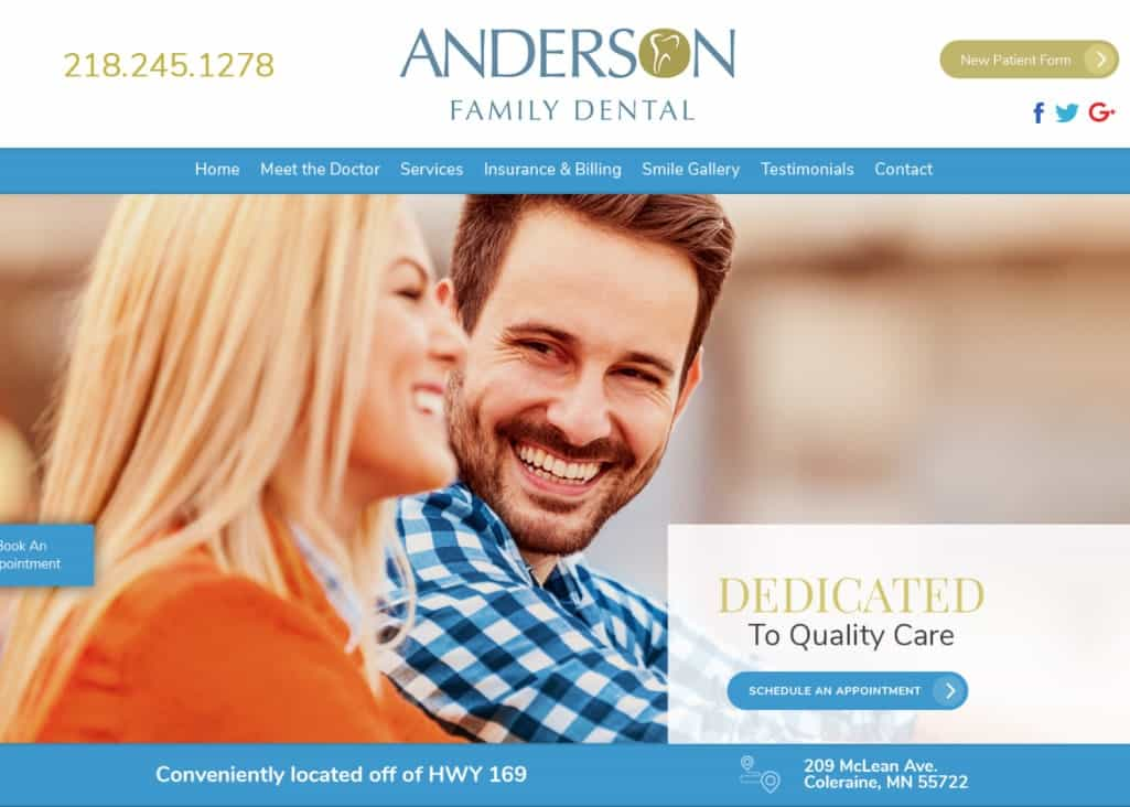Anderson Family Dental Website Screenshot