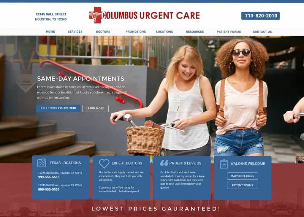 Columbus Urgent Care Website Screenshot
