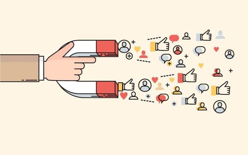 magnet attracting social media follows
