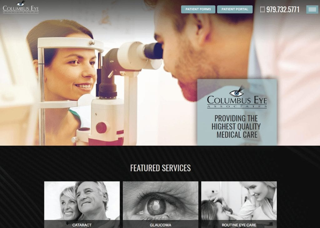 columbuseyeassociates.com screenshot - showing homepage of Columbus Eye Associates website
