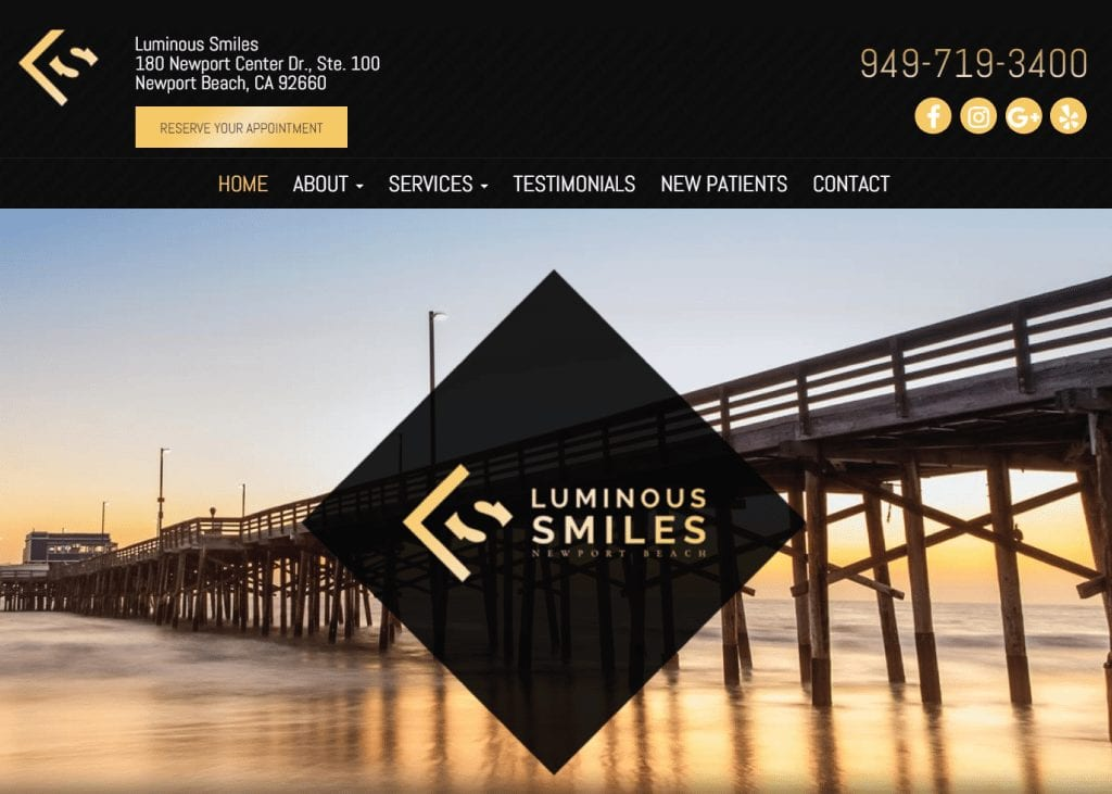 Luminous Smiles of Newport Beach website