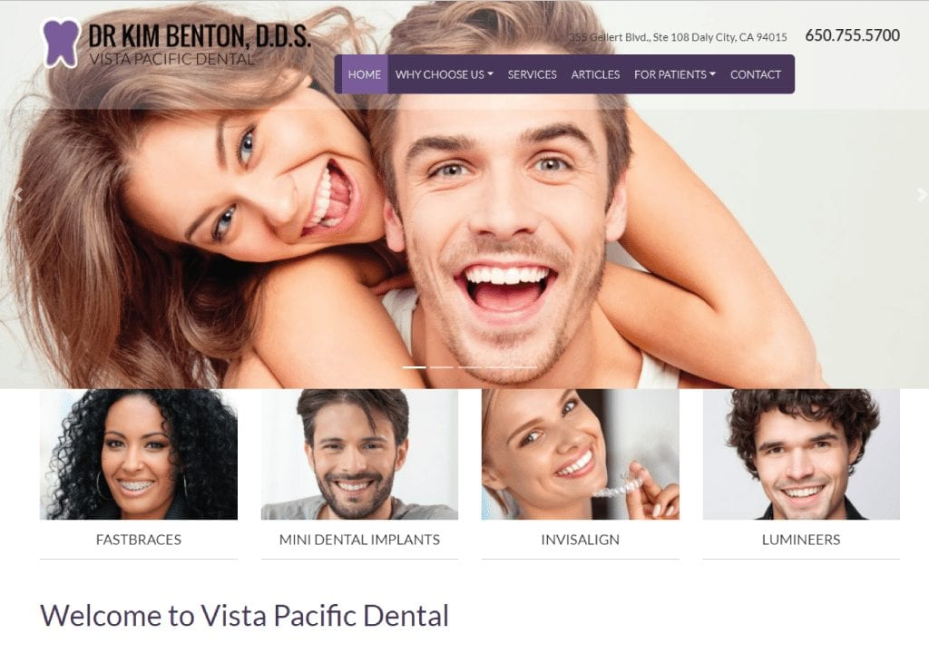 Vista Pacific Dental website