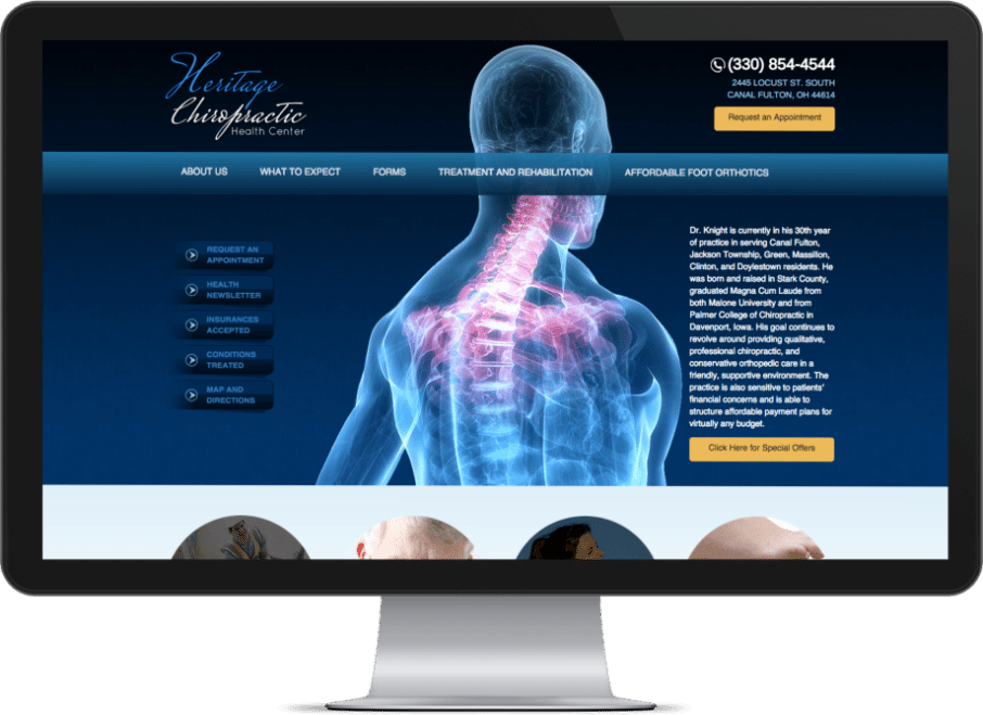 Screenshot of a chiropractor website on a big monitor showing a human skeleton