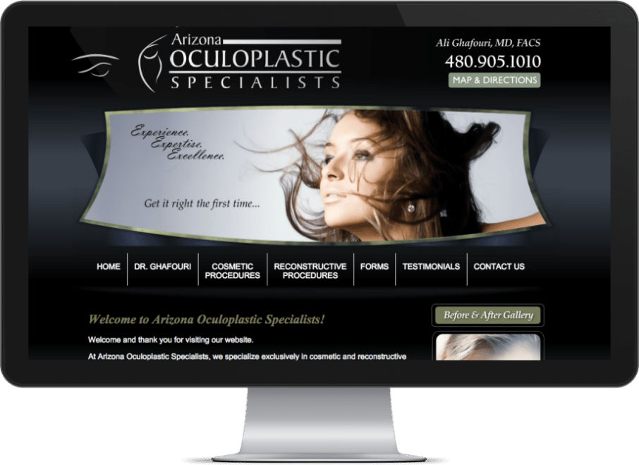 Screenshot of a medical website designed by O360 for an Ophthalmologist