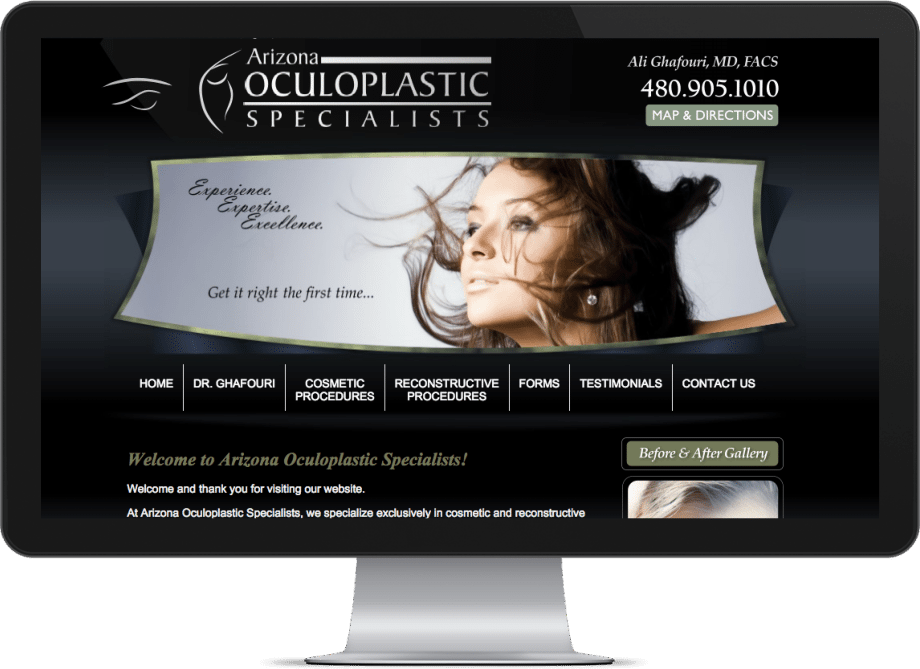 Screenshot of a optometry websites showing big eyes on a large monitor