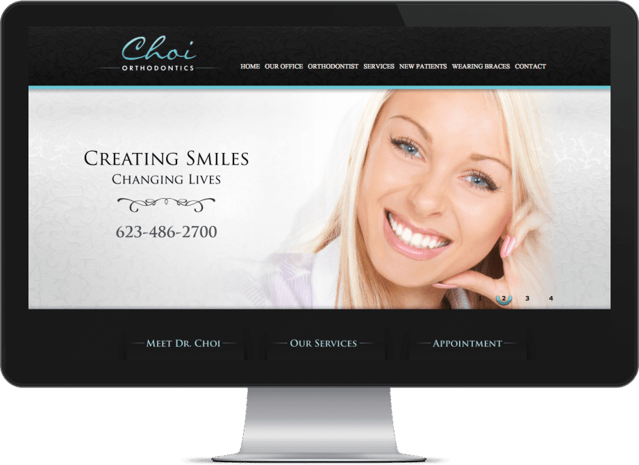 Screenshot of Choi Orthodontics website in a monitor