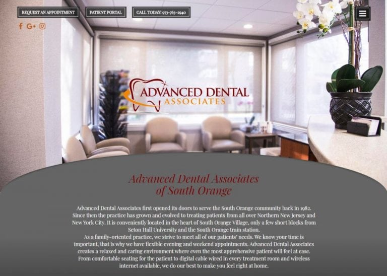 dentistsouthorange.com screenshot showing homepage of website of Advanced Dental Associates of South Orange South Orange, NJ