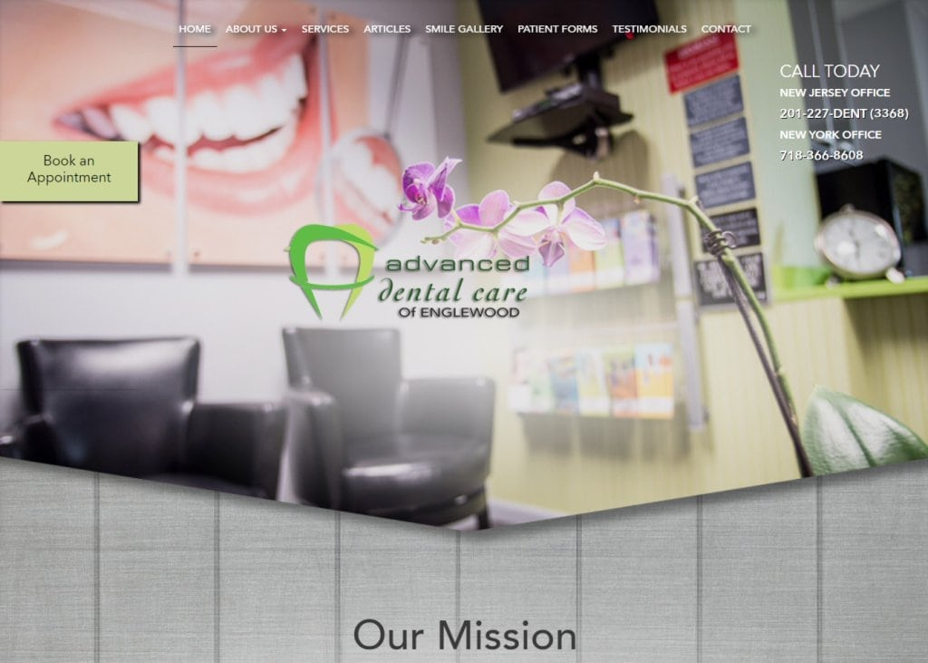 miksadental.com screenshot showing homepage of Advanced Dental Care of Englewood Miksa Dental - Englewood, NJ website