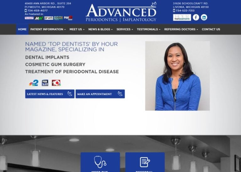 www.advancedperiodontics.com screenshot showing homepage of Advanced Periodontics Plymouth & Livonia, Michigan website