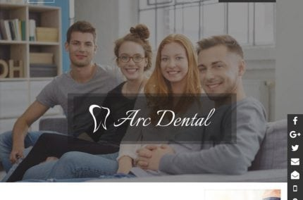 arcdentalhouston.com screenshot - showing homepage of Arc Dental - Houston, TX website