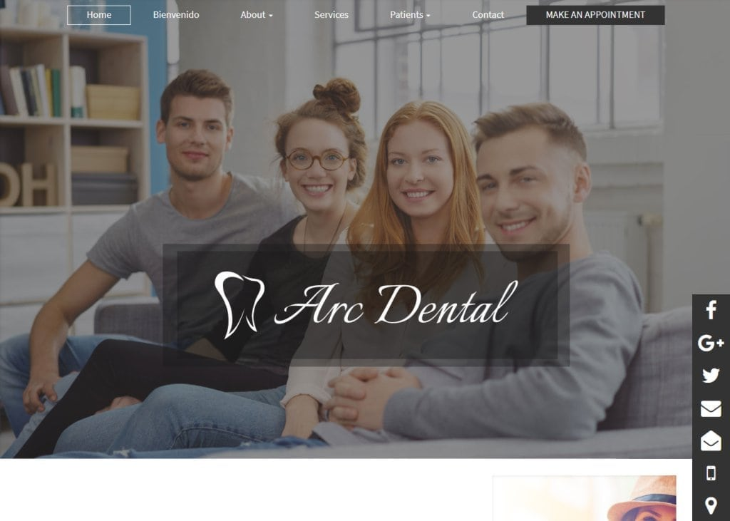 arcdentalhouston.com screenshot - showing homepage of Arc Dental - Houston, TX website