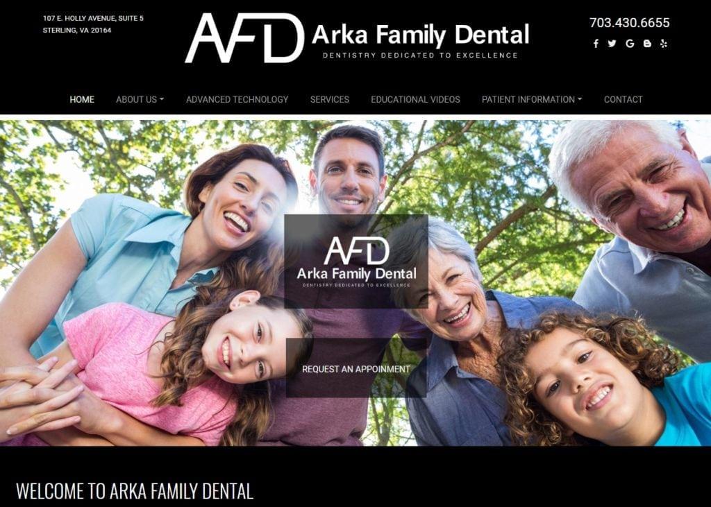 arkafamilydentist.com screenshot - Showing homepage of Arka family dentist website