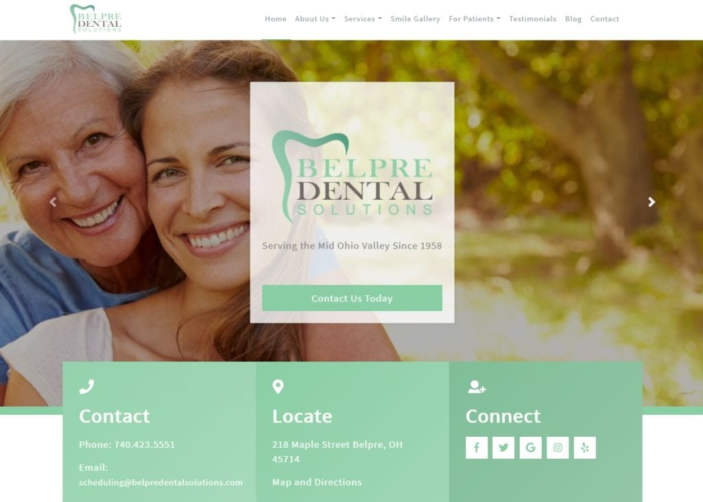 belpredentalsolutions.com screenshot - Showing homepage of Belpre Dental Solutions - Belpre, OH website