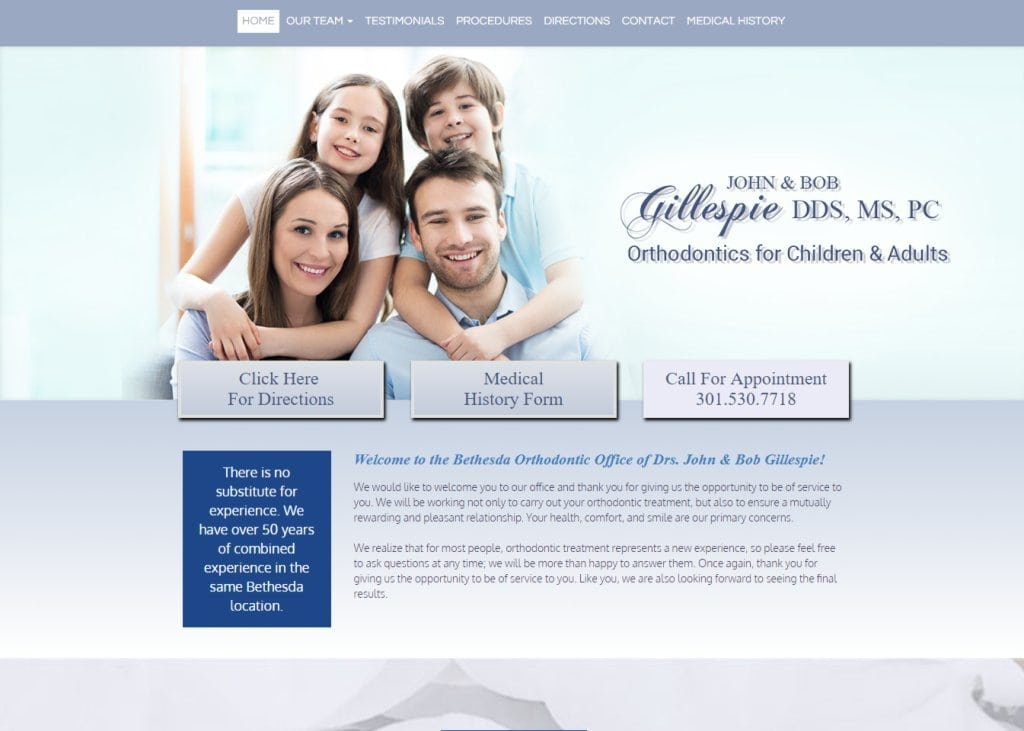 bethesdaorthodontists.com screenshot showing homepage of Bethesda Orthodontic Office of Drs. John & Bob Gillespie - Bethesda, MD website