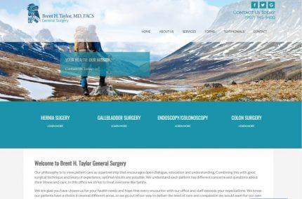 brenttaylormd.com screenshot - Showing homepage of Brent H. Taylor General Surgery website