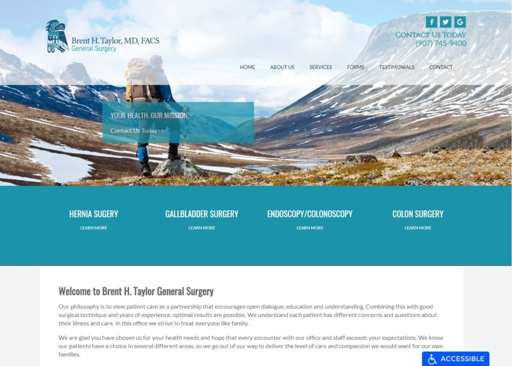brenttaylormd.com screenshot - Showing homepage of Brent H. Taylor General Surgery website