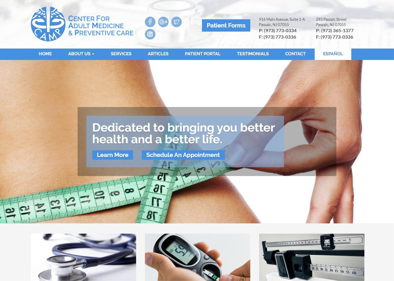 campmedicine.org screenshot showing homepage of Center for Adult Medicine & Preventive Care website