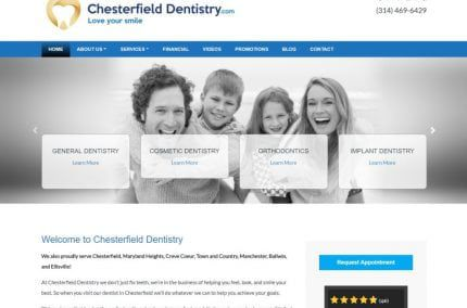 chesterfielddentistry.com screenshot showing homepage of Chesterfield Dentistry website