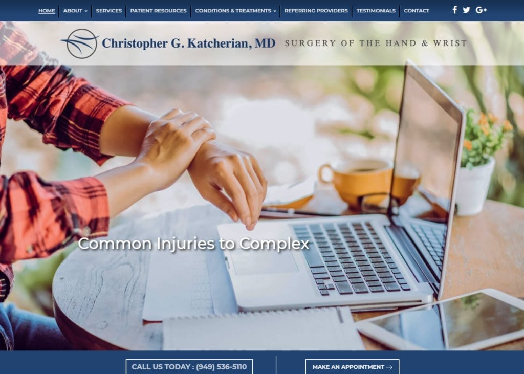 Irvinehandwrist.com screenshot showing homepage of Christopher G. Katcherian, MD - Irvine Hand & Wrist Surgeon website