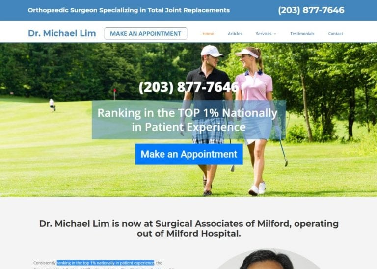michaellimmd.com screenshot - Showing homepage of Dr. Michael Lim - Milford, CT website
