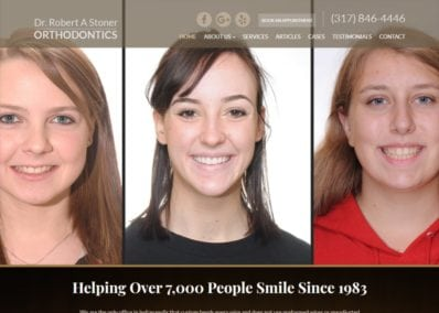 stonerortho.com screenshot showing homepage of Dr. Robert A. Stoner Orthodontics - Indianapolis, IN website