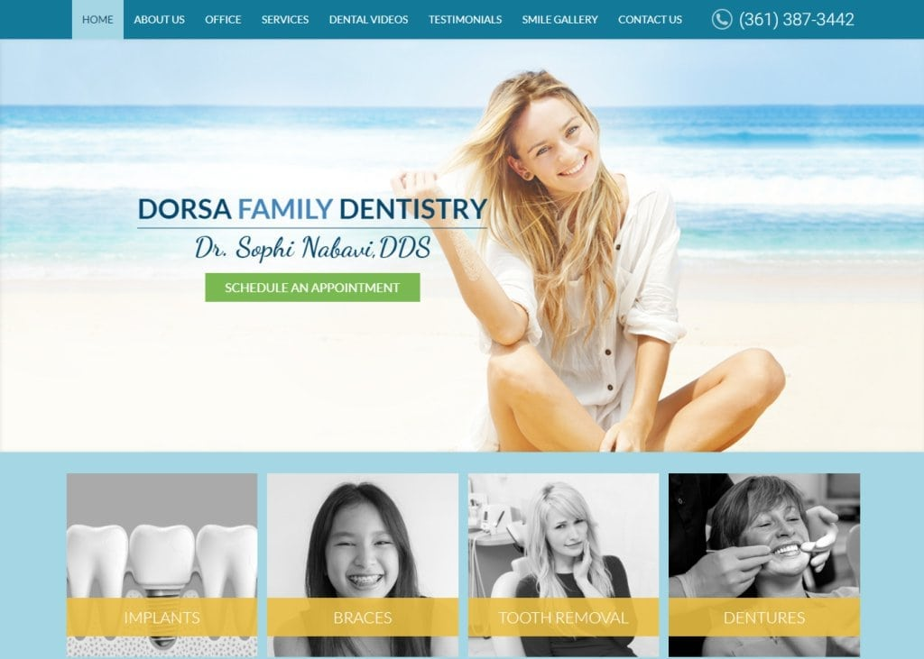dentistsincorpuschristi.com screenshot showing homepage of Dr. Sophi Nabavi DDS, Dorsa Family Dentistry website