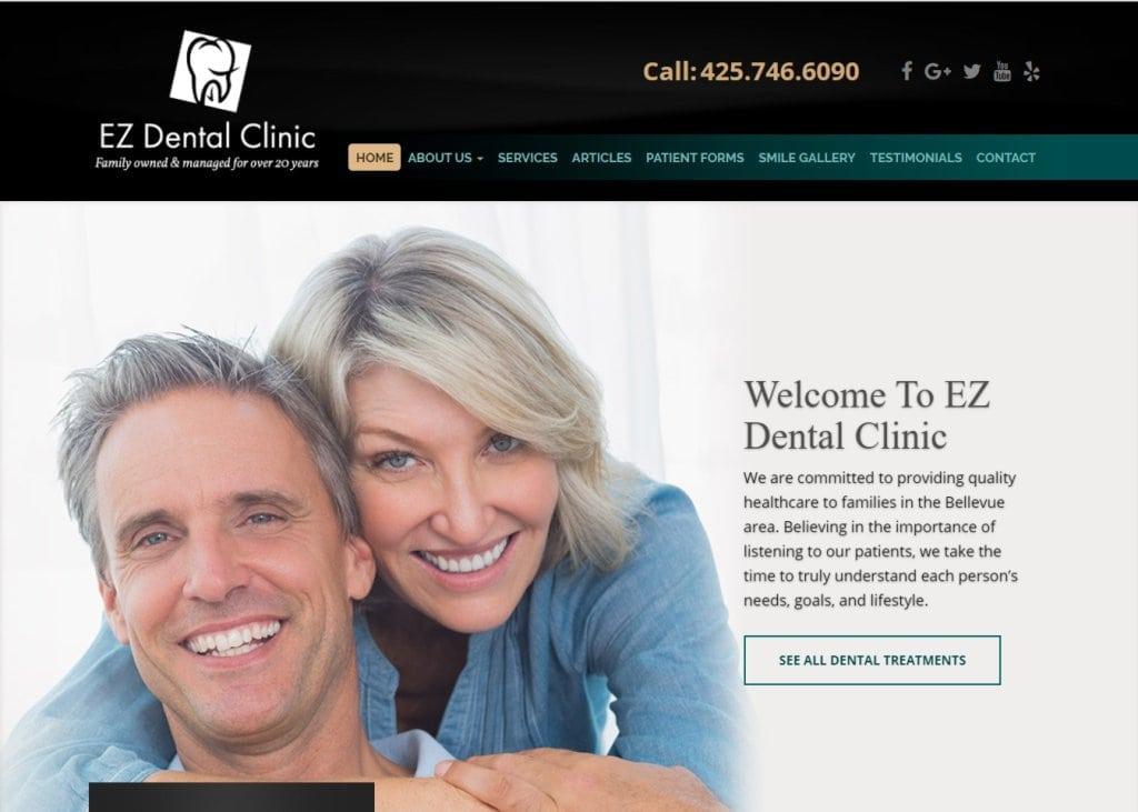 ezdentalbellevue.com screenshot showing homepage of EZ Dental Clinic - Bellevue, WA website