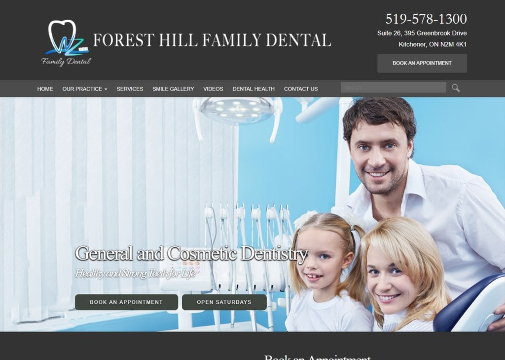 foresthillfamilydental.com Screenshot showing website Forest Hill Family Dental - Kitchener, ON