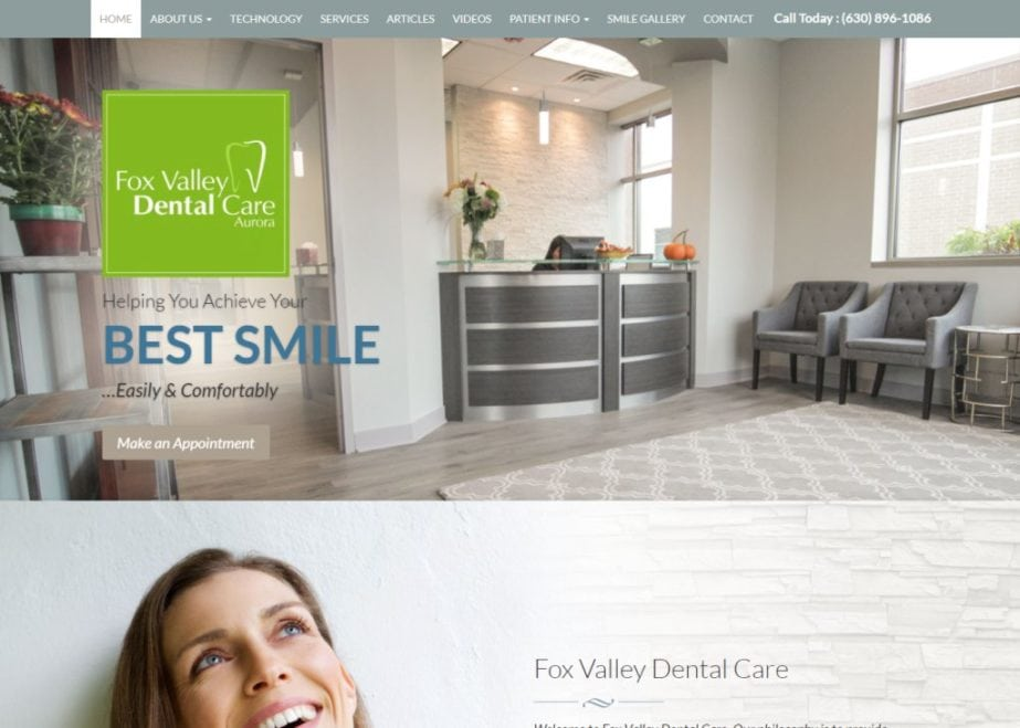 foxvalleydental.com screenshot - Showing homepage of Fox Valley Dental Care - Aurora, IL website