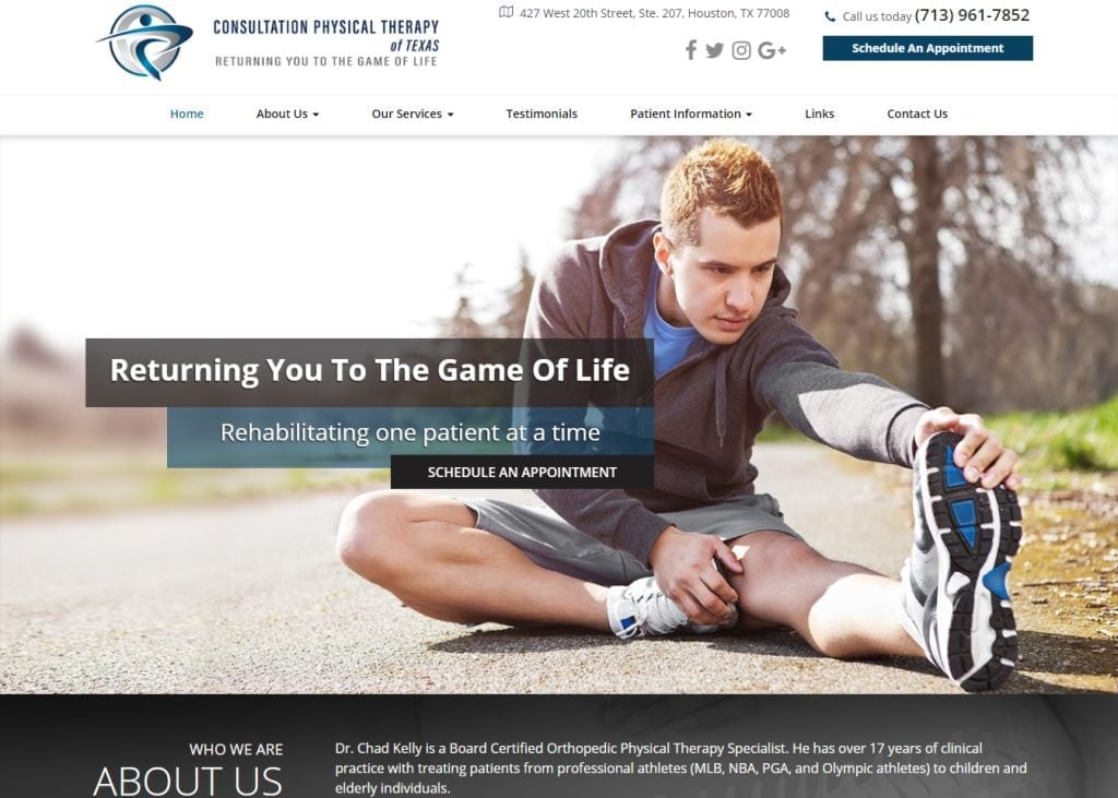 consultationpt.com screenshot - Showing homepage of Houston Physical Therapy - Consultation PT website