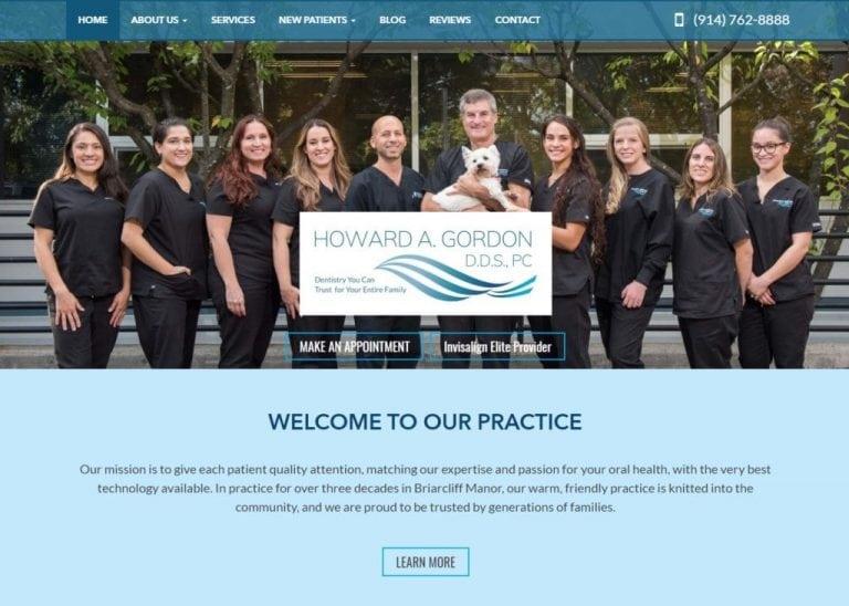 dentistgordon.com screenshot Showing homepage of dr. Howard Gordon, D.D.S., PC - Briarcliff Manor, NY website