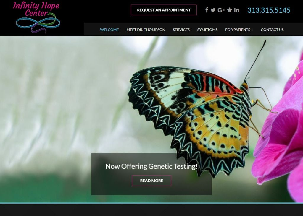 infinityhopecenter.com screenshot - Showing homepage of Infinity Hope Center - Detroit, MI
