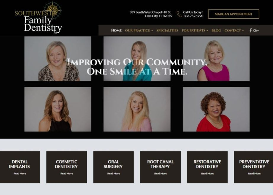 swfamilydentistry.com screenshot - Showing Home page of John A Batlle Southwest Family Dentistry