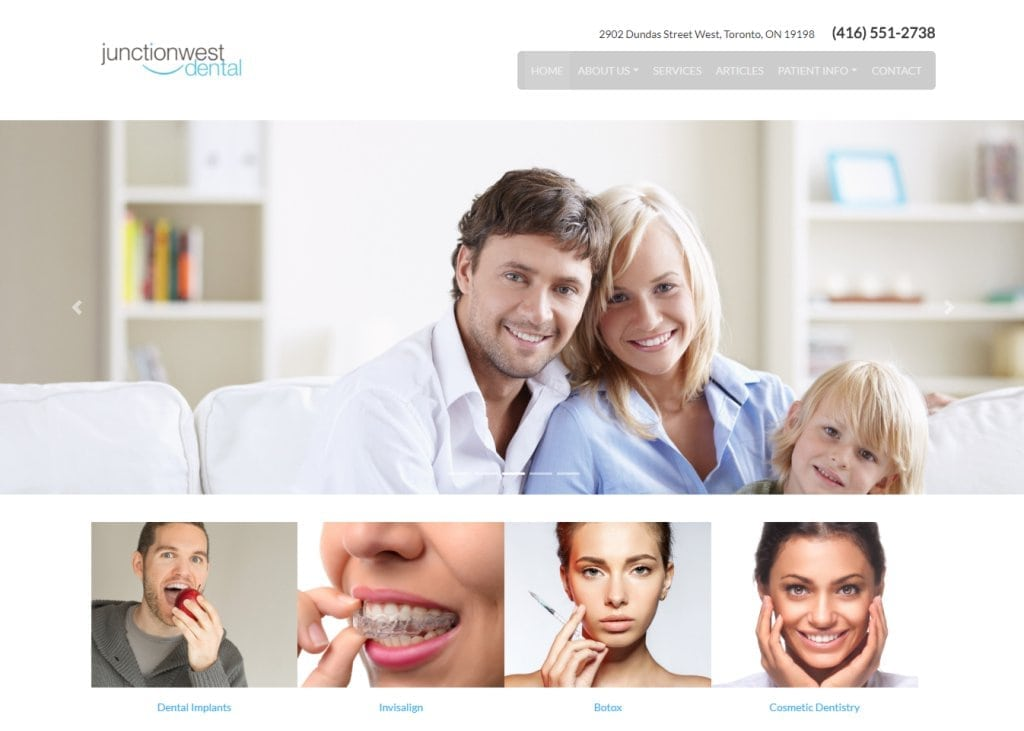 junctionwestdental.ca screenshot showing homepage of Junctionwest Dental - Toronto, ON website