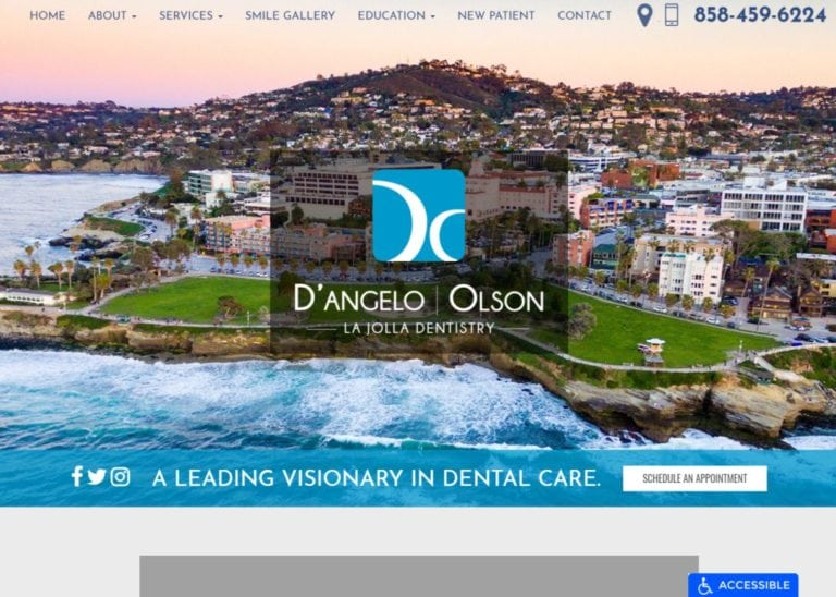 joethedentist.com screenshot - Showing homepage of La Jolla Dentistry D'angelo Olson website