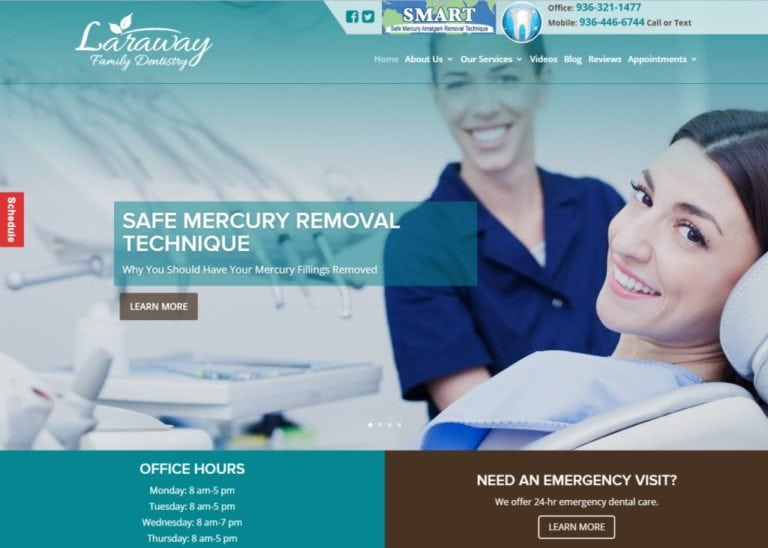 larawayfamilydentistry.com screenshot of homepage showing Laraway Family Dentistry in The Woodlands, TX website