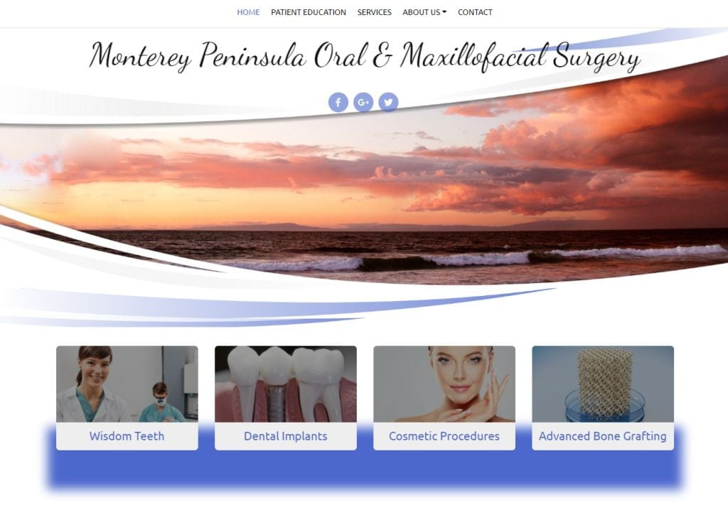 briancarr.360temp.com screenshot - shows the homepage of dr Brian Carr DDS Maxillofacial Surgeons website