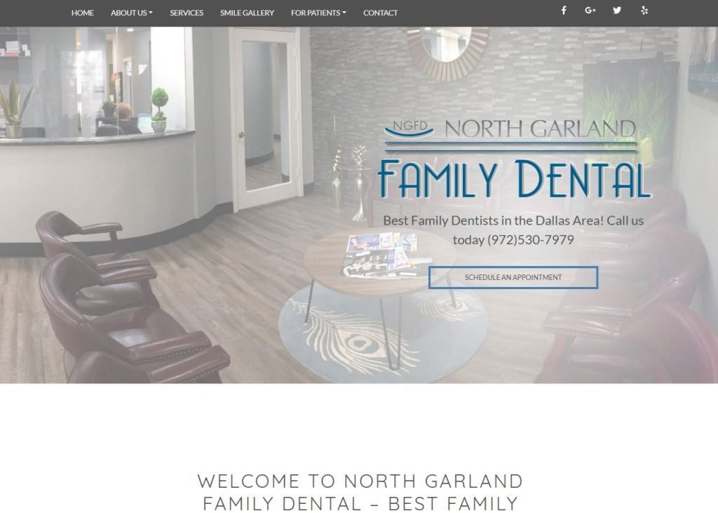 dentistindallastx.com screenshot - Showing homepage of North Garland Family Dentist website