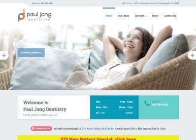 pauljangdentistry.com screenshot showing homepage of Paul Jang Dentistry webpage