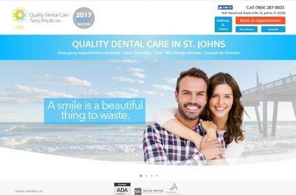 myqualitydentalcare.com screenshot - Showing homepage of Quality Dental Care, Dr. Tariq Shiyab DDS - St Johns, FL website