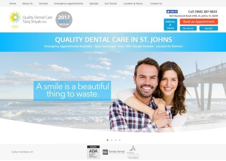 myqualitydentalcare.com screenshot - Showing homepage of Quality Dental Care, Dr. Tariq Shiyab DDS - St Johns, FL website