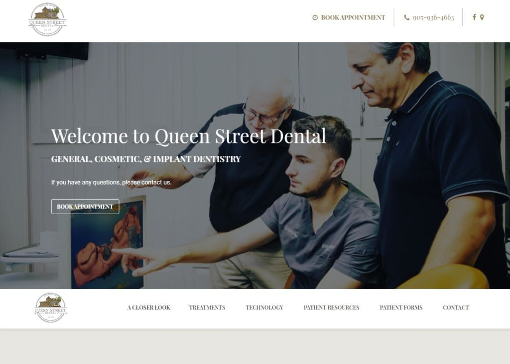queenstreetdental.ca screenchot - Showing home page of Queen Street Dental - Dr Elvis Filo - Tottenham Dentist