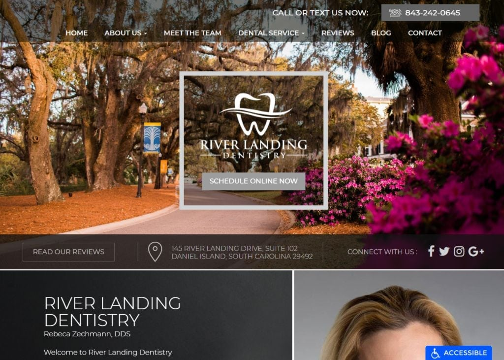 riverlandingdentistry.com screenshot - Showing homepage of River Landing Dentistry - Daniel Island, SC website