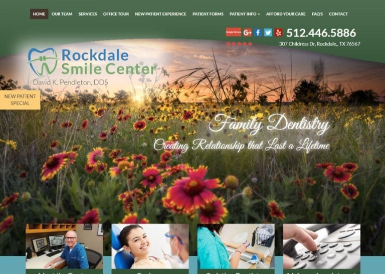 rockdalesmilecenter.com screenshot showing homepage of Rockdale Smiles Center, Dr. David K. Pendleton, DDS website