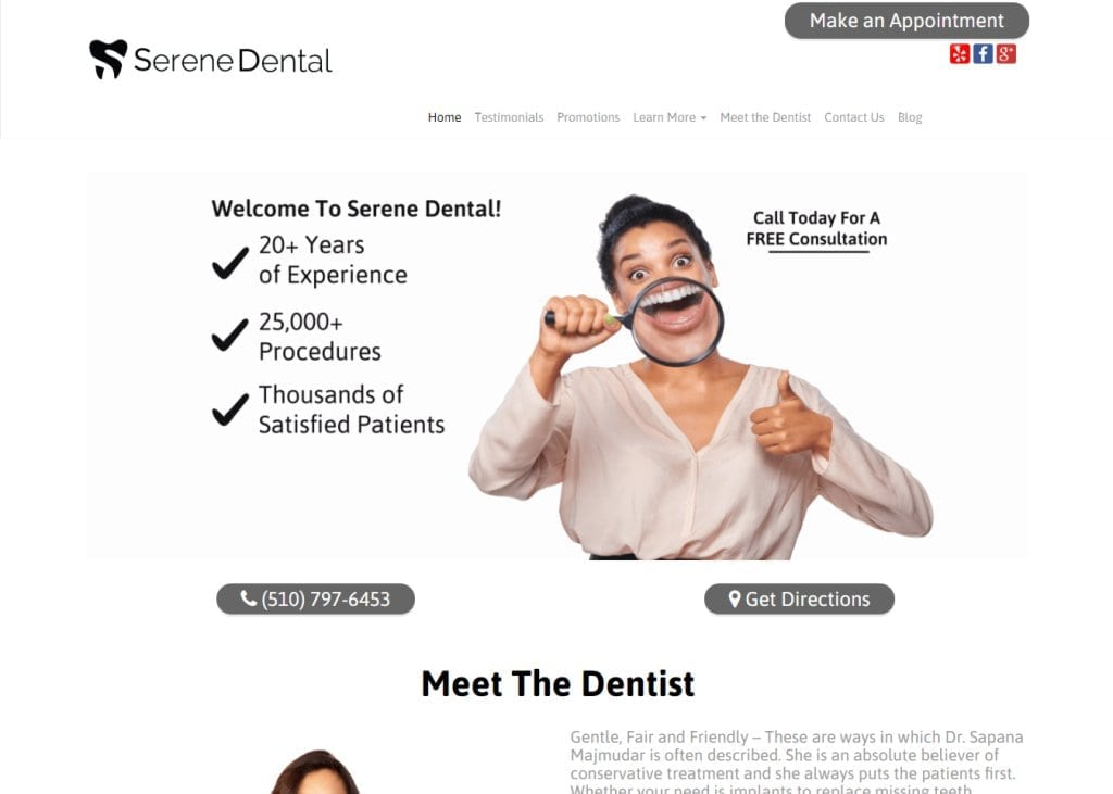 serenedental.com screenshot showing home page of Serene Dental, Dr. Sapana Majmudar - Fremont, CA website