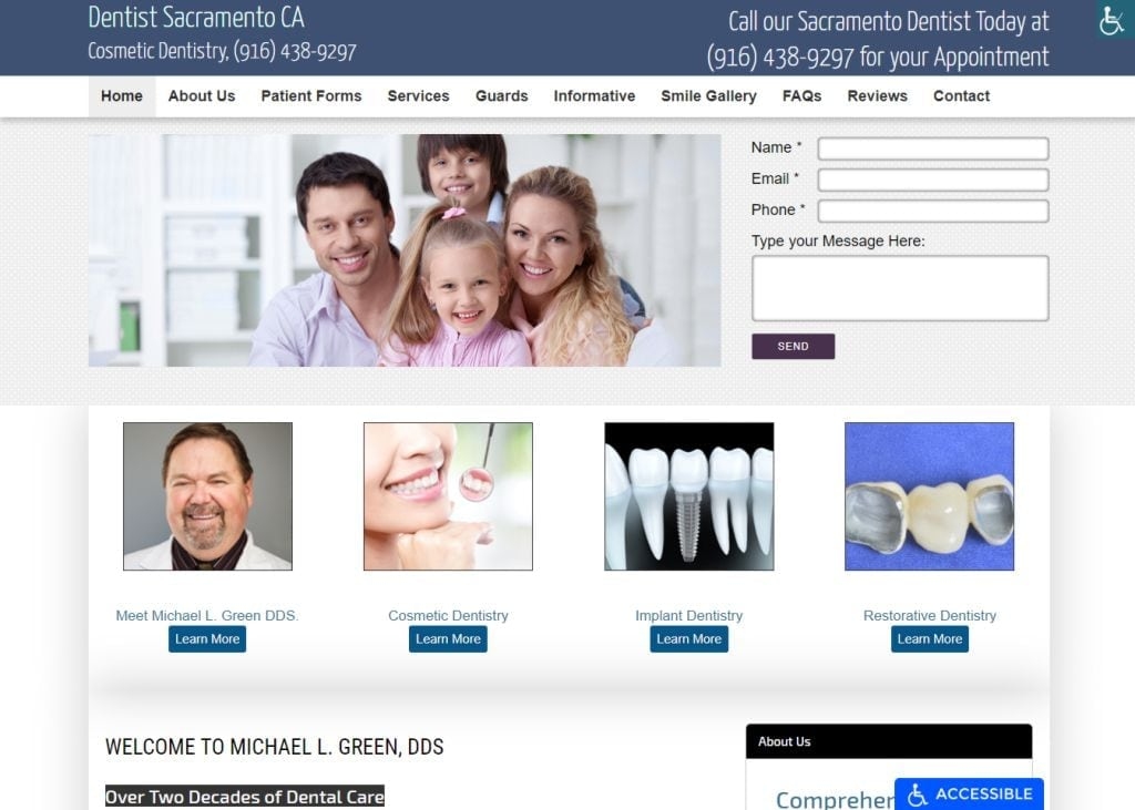 smilesbymike.com screenshot showing homepage of Smiles By Mike Cosmetic Dentistry - Sacramento, CA website